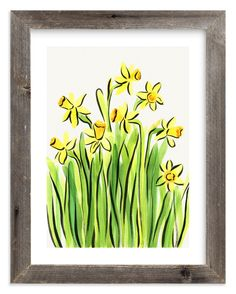 - Painting Limited Edition Art Print by Alexandra Dzh Daffodils by Alexandra Dzh for MintedDaffodils by Alexandra Dzh for Minted Art Wall Kids, Art For Kids, White Ink, Kids Decor, Custom Art, Daffodils, Painting & Drawing, Daisy Painting, Painting Flowers