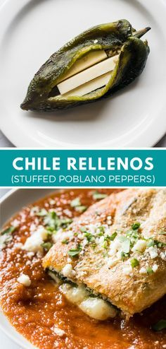 Mexican Dinner Recipes, Mexican Cooking, Mexican Desserts, Mexican Dinners, Gourmet Desserts, Plated Desserts, Stuffed Chili Relleno Recipe, Vegetarian Chili Relleno Recipe, Baked Chile Relleno Recipe