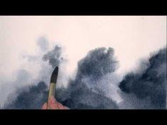 Painting Skies in Watercolour - Moonlit Sky - YouTube