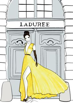 Illustrator: Emmelie Strand //  Technique: Watercolor and indian ink. // www.emmeliestrand.se // Inspiration: Fashion, Paris and laduree.