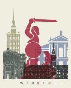 Warsaw Skyline Poster Painting by Pablo Romero - Print Design. - September 26 2019 at St Louis Skyline, Polish Posters, Tourism Poster, City Illustration, Vintage Travel Posters, Cool Artwork, Print Artist, Art Print, Viajes
