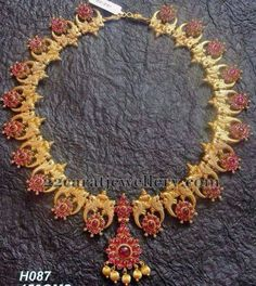 Parrots and Flowers Adorned Necklace Ruby Jewelry, India Jewelry, Bridal Jewelry, Antic Jewellery, Temple Jewellery, Antique Necklace, Antique Jewelry, Small Necklace, Necklaces