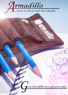 A great new Pencil Case. Stylish Pencil case that you can strap to your arm or sketchbook. Also has a magnet to stick to magnetic surfaces. www.arm-adillo.com   #pencilcase #pencil #pencilholder #anime #manga #comics #comic #moleskin #blicks #artstore #lapiz #pluma #dibujo #drawing #charcoal #newsprint #artsupply
