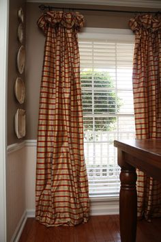 drapes window treatments | Found on harringtonhouse.typepad.com....ELEGANT BUT A LESS FORMAL STYLE OF DRAPES. VERY DIFFERENT !!! 'Cherie