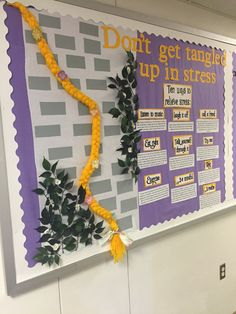 Dont get tangled up in stress! 10 ways to relieve stress with a tangled/rapunzel theme Dont get tangled up in stress! 10 ways to relieve stress with a tangled/rapunzel theme Health Bulletin Boards, College Bulletin Boards, Disney Bulletin Boards, Dorm Themes, Ra Bulletins, Ra Boards, Disney Classroom, School Hallways, Resident Assistant