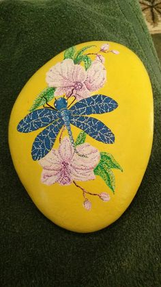 Dragonfly, orchids, dotting, painted rocks