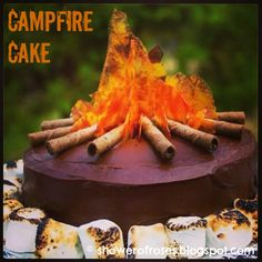 Looks like Maggie's next bday cake! Shower of Roses: A Lone Ranger Campfire Cake- Looks super easy from the step by step directions and so cute for a camping theme party or just a summer fun BBQ! Cupcakes, Cupcake Cakes, Camping Cakes, Camping Theme, Camping Parties, Campfire Cake, Bonfire Cake, Gateaux Cake, Creative Cakes
