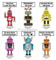Robot Valentines Classroom Valentine Cards Kids Personalized Valentine's Day