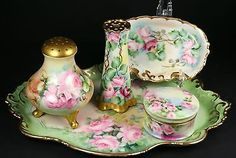 Antique-Limoges-Porcelain-5Pc-DRESSER-Set