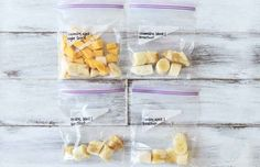 "Make ""smoothie packs"" by portioning out the fruit you need for a smoothie, then freezing it."