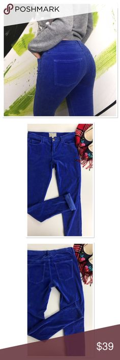 "Current/Elliott 80' Skinny Jean velvet cobalt blue Current/Elliott true 80' Skinny Jean velvet cobalt blue color. Eighties skinny jean that hugs every curve, label states cropped at the ankle, but I'm 5'9 and they are long, full length inseam: 33"". Can be worn rolled up for cropped look to show off the shoes. Beautiful vibrant color! Soft velvety, suede feel. Rise: 8"" waist: 14,5"" size 27. Good prep wed condition, just some signs of wear. 9&% cotton Current/Elliott Jeans Skinny"