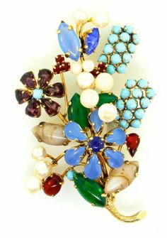 Vtg Christian Dior 1963 Couture Flower Bouquet Rhinestone Glass Pearl Brooch Pin | eBay