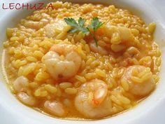 Arroz caldoso con gambas con thermomix - Arroces y patatas con thermomix - Thermomix Rice Cooker Recipes, Rice Recipes, Seafood Recipes, Salad Recipes, Dinner Recipes, Cooking Recipes, Seafood Meals, Risotto Recipes, Healthy Soup Recipes
