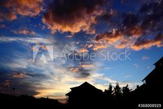 #silhouette #house #sunset #dusk #clouds #sky #blue #black #red Silhouette, Dusk, Clouds, Sunset, Red, Movies, Movie Posters, Photography, Image