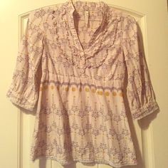 Adorable fossil shirt! 3/4 length sleeve Fossil shirt. Beautiful lace trim detail. V-neck. Mustard yellow and grey! Fossil Tops Blouses