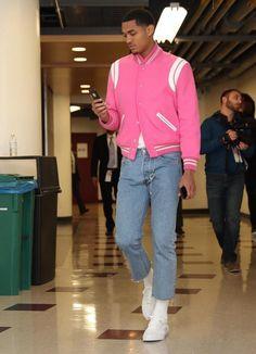 591df740d2c4 Jordan Clarkson Wears Saint Laurent Pink Jacket and Vans Sneakers For  Lakers vs Bulls Game