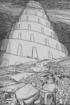 """The Tower of Babel"" by Jos Speybrouck Wild Bull, Epic Of Gilgamesh, Tower Of Babel, Diorama Ideas, Building Structure, Sacred Art, Gravure, Tarot, Illustrators"