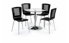 Chrome & Glass Round Table Dining Set