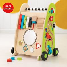 The Kidkraft Push Along Play Cart is loaded with activities including shape sorting, a xylophone, track maze and spinning . Toys Online, Baby Online, One Year Gift, Best Baby Toys, Tween Gifts, Cool Toys For Girls, Cleaning Toys, Interactive Toys, Pull Toy