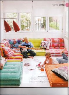 Gigantic floor cushions / kid's rumpus room / floor pillows- and if they fall off the couch…the floor is a lot closer! ha!