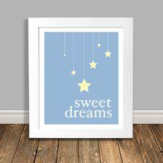 Sweet Dreams Printable Art Nursery Art Kids Art by HappyHippoArts