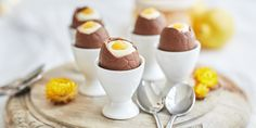 Delicious cheesecake filled Easter Eggs can be made at home: with a smooth creamy filling and a dollop of Anathoth Farm Lemon Curd to resemble the egg yolk!