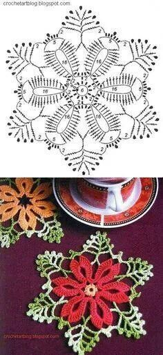 envisioning this in spring colors, and maybe as a suncatcher, or coaster set (gifts) Pretty Christmas crochet small doily motif pattern. Plus many other free patterns. Crochet Diy, Crochet Motifs, Crochet Diagram, Crochet Chart, Crochet Squares, Crochet Home, Thread Crochet, Irish Crochet, Crochet Doilies