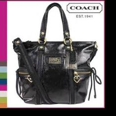"""COACH LIQUID GLOSS DAISY TOTE AUTHENTIC COACH LIQUID GLOSS DAISY POCKET TOTE  Great condition /used minimally  COLOR IS BLACK  MEASURES 10"""" L X 10 /4"""" H X 4""""  HANDLES HAVE 6"""" DROP  SHOULDER STRAP HAS A 15"""" DROP  HAS ONE OPEN COMPARTMENT ON FRONT  2 ZIPPERED COMPARTMENTS ON FRONT  COACH HANG TAGS  INSIDE HAS ONE ZIPPERED COMPARTMENT AND 2 OPEN COMPARTENTS  ZIP TOP CLOSURE Coach Bags Totes"""