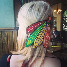 Blackhawks Feathers Headband/Hair Clip by HockeyHeadbands on Etsy, $15.00