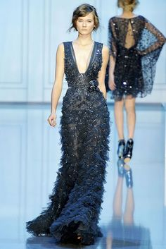 Elie Saab. plunging neckline and vertical straps is a great silhouette