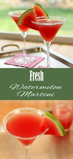 Make the Fresh Watermelon Martini for a delicious twist on girls night! Try with Van Gogh Melon Vodka for that extra melon kick!