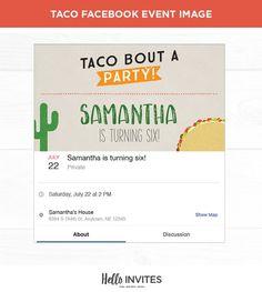 Taco Birthday Facebook Event Invitation Red Orange Green Girl Boy Cactus Invite Fiesta Digi