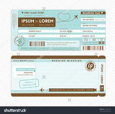 Bordkarte Ticket Hochzeits-Einladung Vorlage Stock-Vektorgrafik - Illustration 153302015 : Shutterstock