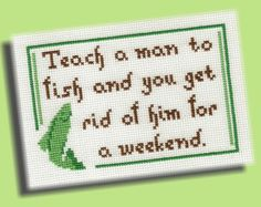 Funny Cross Stitch Pattern Teach A Man To Fish by KittyCrackernuts, $3.50