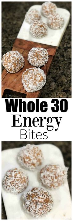 whole30 energy bites - Whole30 Snacks: Delicious Easy Energy Bites featured by top Atlanta fitness blog Happily Hughes Protein Shakes, Protein Bars, Healthy Snacks, Healthy Recipes, Delicious Recipes, Healthy Eats, Healthy Life, Easy Desserts, Dessert Recipes