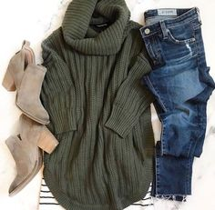 #winter #outfits jeans, green sweater, beige boots
