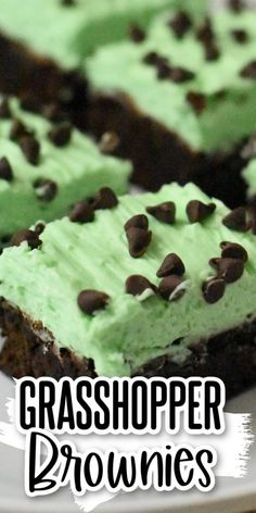 These mint brownies are amazing. Often called grasshopper bars, these chewy brownies have a thick layer of mint cream cheese buttercream icing that is delicious! Chocolate Peanut Butter Brownies, Chocolate Chip Cookie Bars, Mini Chocolate Chips, Mint Chocolate, Chocolate Desserts, Delicious Cookie Recipes, Best Dessert Recipes, Yummy Cookies, Brownie Recipes
