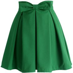 Chicwish Sweet Your Heart Bowknot Pleated Skirt in Emerald Green ($39) ❤ liked on Polyvore featuring skirts, bottoms, green, knee length pleated skirt, heart skirt, chicwish skirt, green pleated skirt and pleated skirts
