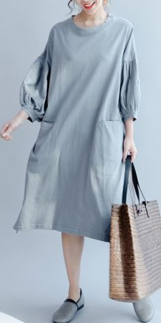 c478540d384 Gray blue vintage sundress plus size knit cotton summer dress puff sleeve  maxi dress