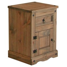 Corona 1 Door, 1 Drawer Bedside Cabinet - Coated in a spirit based antique stain with a finishing coat of tinted wax effect lacquer. Internal drawer components are unfinished.