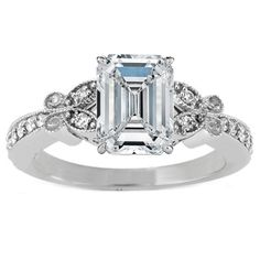 Engagement Ring - Emerald Cut Diamond Butterfly Vintage Engagement Ring  - ES334ECWG