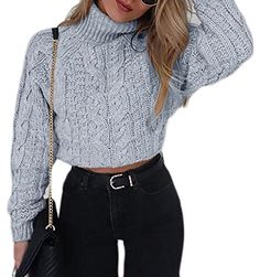 Womens Casual Loose Fit Cable Knit Pullover Crop Tops Sweater ** Visit the image link more details. (It is Amazon affiliate link) #WearIT