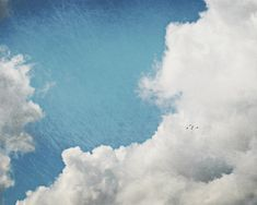 "Cloud Photograph - blue sky photograph nature photography baby boy room nursery decor wall art 8x10, 11x14, 16x20 print ""Birds in a BIg Sky""..."