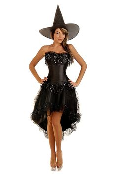 Burlesque Witch Costume, Sexy Witch Costume, Corset Costume