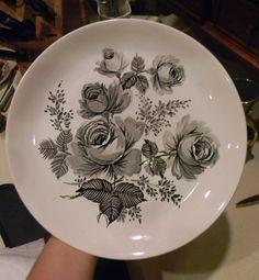 Meakin Black Transferware Victoria Roses Vintage English Plate