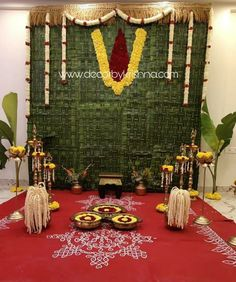 If you have the will to replace regular decors with natural elements there are countless things that you can get from nature. Pooja decor by Vijaya Lakshmi of is a unit of 𝒎𝒆𝒔𝒔? Desi Wedding Decor, Wedding Backdrop Design, Wedding Stage Design, Wedding Hall Decorations, Engagement Decorations, Wedding Mandap, Festival Decorations, Flower Decorations, Cradle Decoration