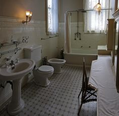 Vintage wall tiles with border.