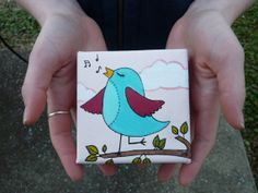 Original Mini Canvas Painting  Songbird by EverettandEloise, $28.00