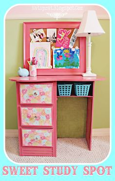 See what spray paint, crystal knobs, and Mod Podgeing some scrapbook paper can do for  an old piece of furniture. WOW