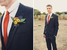 Style Snapshots: Feathered Fall Boutonniere via Shannen Norman